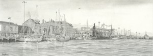 Poole Quay Pencil Drawing